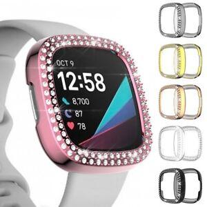 For Fitbit Versa 3 Fitbit Sense Watch Crystal Diamonds TPU Case Bumper Protector