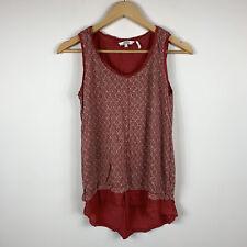 Fat Face Womens Tank Top Size 8 Red 100% Linen Sleeveless Top