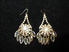 Chandelier Dangle Earrings Genuine Rhinestone Crystal Gold Tone Vintage Antique