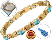 Ladies Magnetic Bracelet Blue Mixed Crystals Health Arthritis Therapy Healing