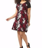 Plus Size Taylor Dresses Midweight Sweater A Line Dress In Merlot Floral 1X