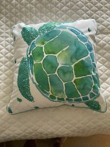 Pottery Barn Teen Sea Life Pillow Cover with Insert Turtle Sequins Kids Accent