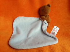 F&F Tesco Brown Bear Blue Baby Comforter Blankie Doudou Soft Toy 12""