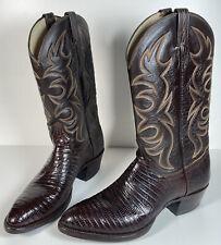 El Dorado Handmade Dark Brown/Maroon Lizard Leather Cowboy Boots Men's 10.5 B