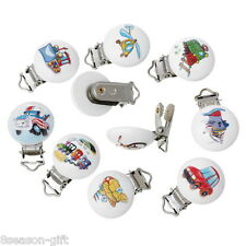 5PCs Mixed Baby Pacifier Clips Vehicle Pattern White Wood Metal Clips