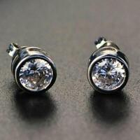 2.00 Ct Moissanite Bezel Set Stud Earrings 14k White Gold Excellent Round Shape