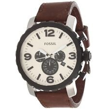 Fossil Mens JR1390 Chronograph Eggshell Dial Stainless Steel Leather Watch