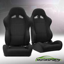 2 x Reclinable Black Pineapple Fabric Left/Right Racing Seats + Adjustor Slider