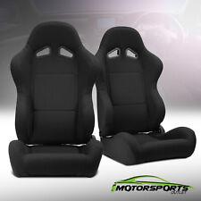2 x Reclinable Black Pineapple Fabric Left/Right Racing Seats + Adjustor Slider