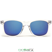 GloFX Diffraction Glasses – Clear – Blue Mirror Stainless Steel Hinges