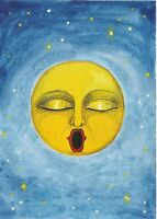 ACEO PRINT OF PAINTING RYTA MAN ON THE MOON FANTASY FOLK ART HALLOWEEN STAR SKY