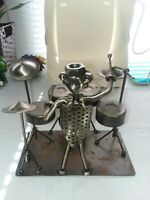 NUTS & BOLTS DRUMMER with Recycled METAL FIGURINE SCULPTURE ART