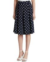 Tahari by ASL Womens Skirt Navy Blue Ivory Size 10 Pleated Dot-Print $79 551