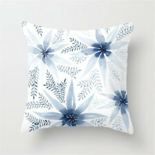 Blue flowers watercolour cushion cover, fine fabric, navy pale, scandi flower