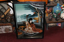 Antique Japanese Chinese Reverse Painting On Glass-Woman Playing String Guitar
