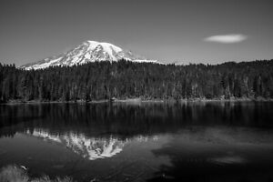 Pacific Northwest Photography Print - Mount Rainier in Black and White