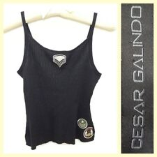 Cesar Galindo $195 black ribbed silk knit lurex tank top w/patches~M/S