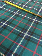 "VINTAGE 1950-70s 100% WOOL PLAID( TEAL ) 10 OUNCE FABRIC 50"" W  X 19"" L"