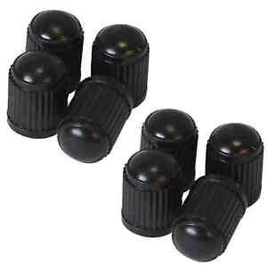 8 X BLACK PLASTIC UNIVERSAL TYRE ALLOY WHEEL CAPS DUST VALVE CAR BIKE CYCLE