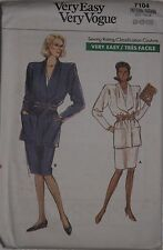 Vogue 7104 Sewing Pattern Misses Loose Fitting Unlined Jacket Skirts  8 10 12 UC