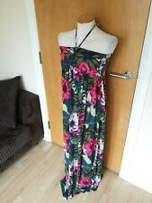Ladies NEXT Dress Size 16 Maternity Pregnancy Halter Maxi Stretch Green Pink