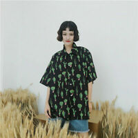 Cactus Print Shirt Summer Turn Down Collar Blouse Women Causal Short Sleeve Top