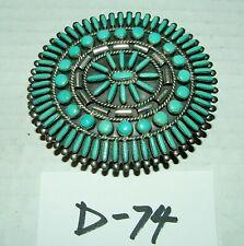 #Vintage Belt Buckle w Unique Design Silver & Turquoise Symmetrical Design #D74