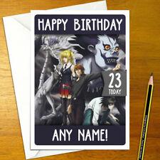 DEATH NOTE Personalised Birthday Card - light kira L misa ryuk personalized