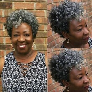 Grandmother Gray Wigs Curly Human Hair Wigs Indian Curly Human Hair No Lace Wig