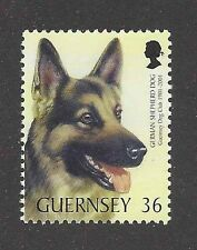 Art Head Portrait Postage Stamp GERMAN SHEPHERD DOG ALSATIAN Guernsey 2001 MNH