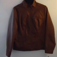 NWT Alfani Mock Neck Brown Pleather Jacket Size Large $99 reduced 50% only $49