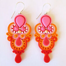 Neon Orange Pink Red Tear Drop Chaliender Big Long Geometric Earrings Jewelry