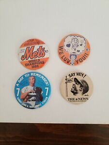 "4 Vintage 1960's -1970's Baseball Pinback Buttons 3 1/2""&4"" Diameter"