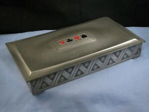 VINTAGE NORWAY ART DECO PEWTER No 217 DESKTOP BRIDGE PLAYING GAMBLING CARDS BOX