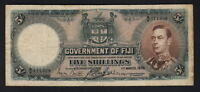 FIJI P-37b. 1938 5 Shillings..   George VI Portrait..  Fine+