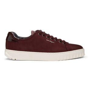 NIB Salvatore Ferragamo Cube Nebbiolo Wine Red Leather Sneakers 7