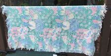 Waffle Weave Cotton Throw Flowers Hearts pastels Blanket Fringed