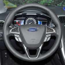 Stitch Black Genuine Leather Steering Wheel Cover for Ford Fusion 2013-2018 Edge