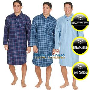 Mens Night Shirt Nightshirt Pure100% Cotton Flannel Warm stripes and checks