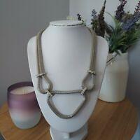 Retro Statement Industrial Silver Tone Sparkly Diamante Tube Chain Necklace