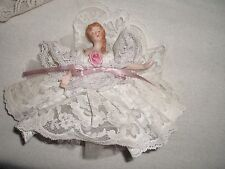 "Hanging Doll Porcelain  Ballerina Wrapped In Lace 7"" High'Beautiful"