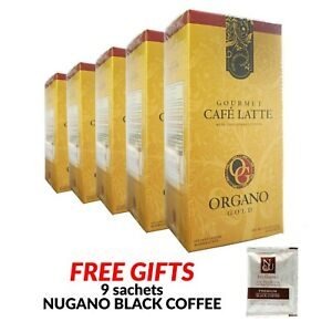 5 boxes Organo Gold Latte Cafe Gourmet Coffee Exp 11/21 Ganoderma Free Shipping