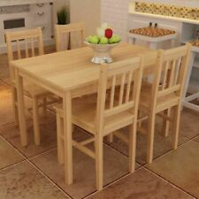 vidaXL Wooden Dining Table with 4 Chairs Set - Natural (241220)