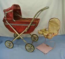 VINTAGE FOLDING DOLL CARRIAGE AND HIGH CHAIR DOLLIEBABE SOUTH BEND TOYS STROLLER