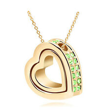 NEW Women Double Heart Green Crystal Gold Charm Pendant Chain Necklace PB4S6