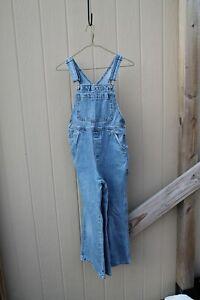 "90s y2k 2001 Gap Denim Carpenter Overalls Kids Blue Jeans sz L /10 23"" i 28"" w"