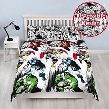 MARVEL COMICS CROP DOUBLE DUVET COVER SET REVERSIBLE KIDS BOYS BEDDING