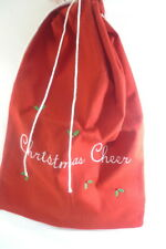 "Red Felt Fabric CHRISTMAS GIFT BAG Reusable Drawstring Pouch 21"" x 29"""