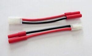 2 Tamiya 1 male/1 Female connector to 4mm Bullet Banana / adapter Lipo / NiMH