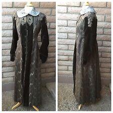 Antique Heavy Winter Coat Womens Overcoat Velvet Sleeves Long Wool Dressing Gown